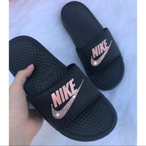 ⚡️Custom Bling Nike Benassi Slides (Black/Rose)⚡️